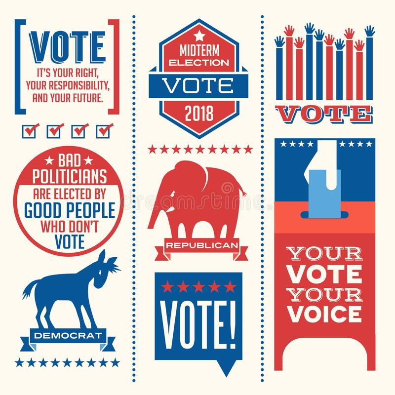 Patriotic elements and motivational messages to encourage voting. Patriotic design elements and motivational messages to encourage voting in United States 2018 vector illustration