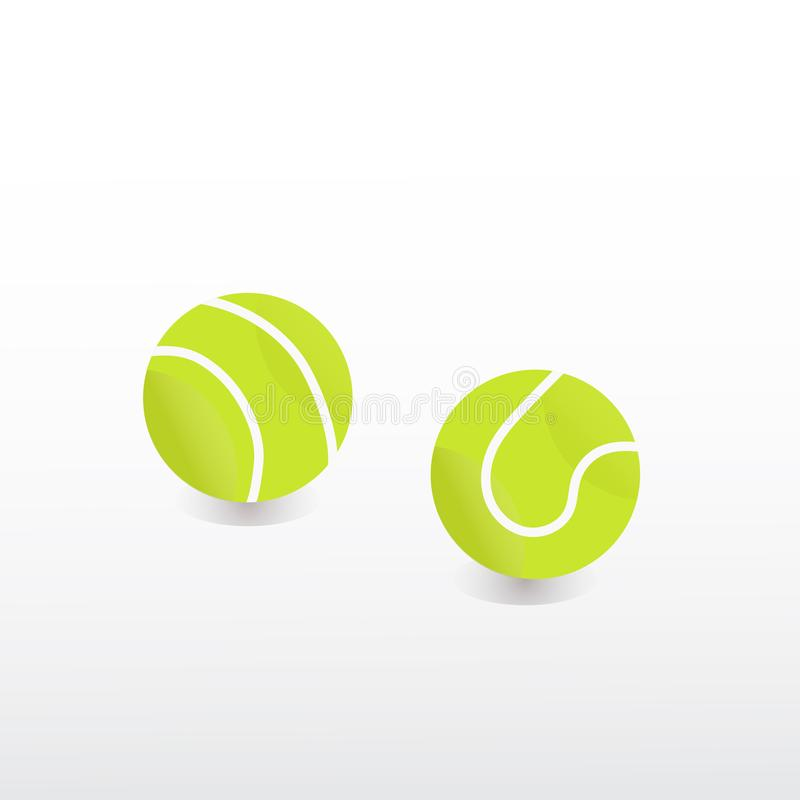 Vector green tennis ball sport colorfull royalty free stock image