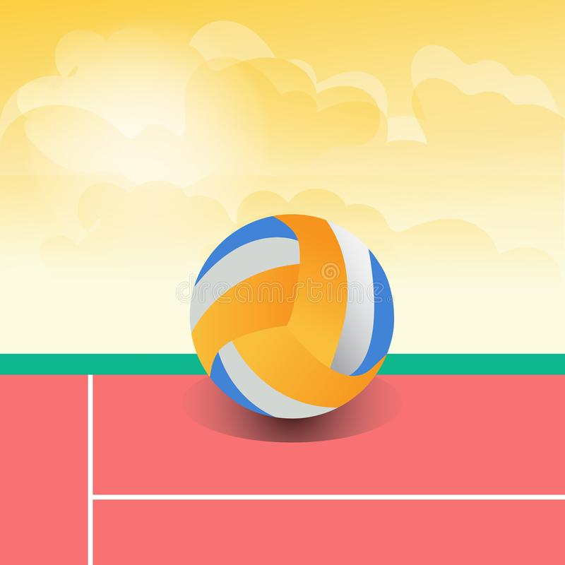 Volleyball colorful a daytime background. Volley ball colorful a daytime background support file EPS 10 stock illustration