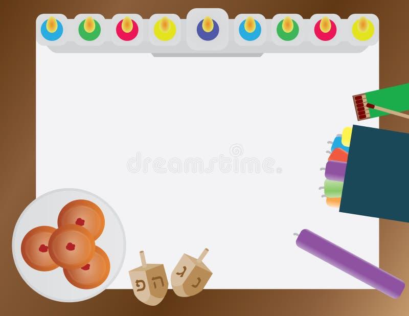 Hanukkah Jewish Holiday vector background Hanukkah traditional elements - menora and candles, donuts and dreidels royalty free illustration