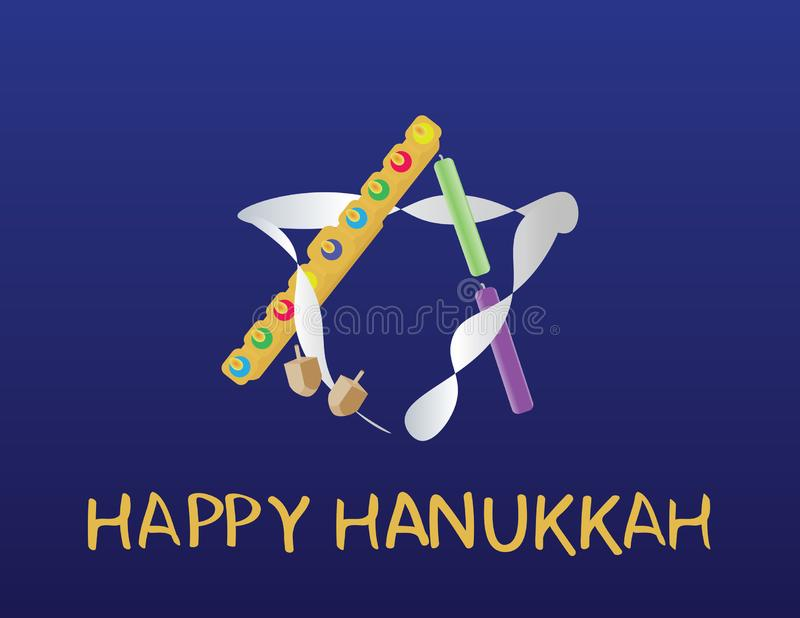 Hanukkah jewish holiday greeting. English HAPPY HANUKKAH greeting and star of david logo with Hanukkah elements on Dark blue backg royalty free illustration