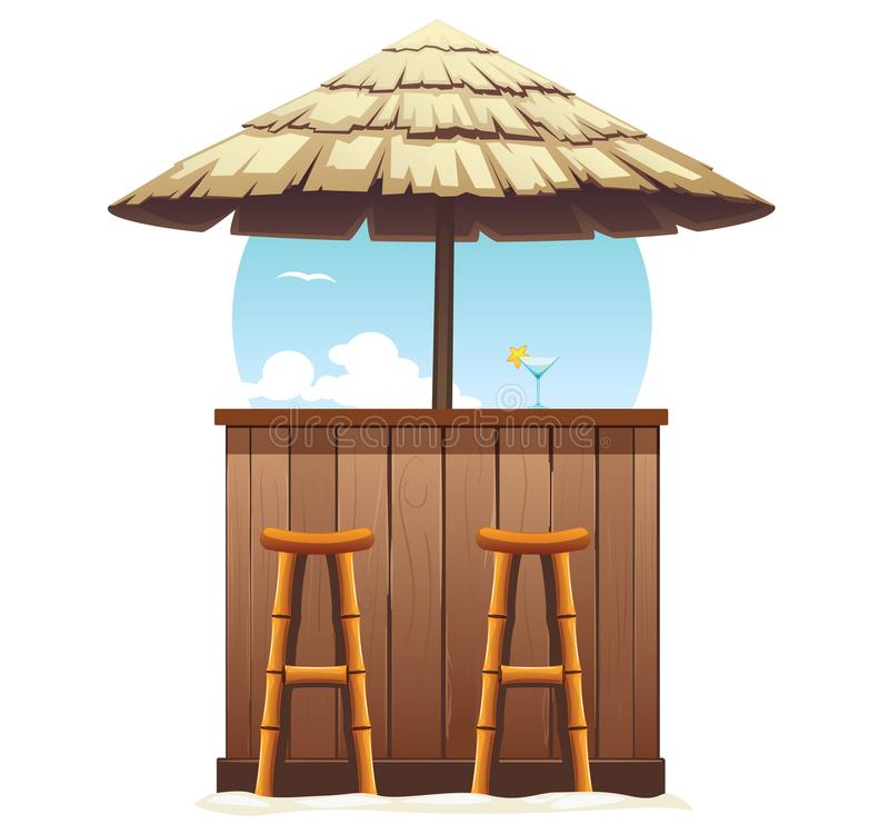 Beach Bar Thatch. Vintage Lounge Cafe Isolated royalty free illustration
