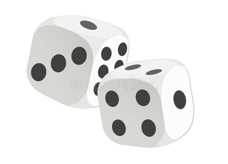 Cubes dice two white dices 3D Rendering stock illustration