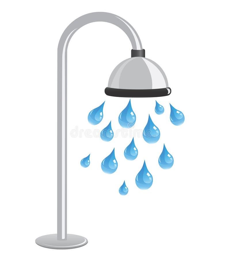 Shower with blue water droplets. Illustration vector illustration