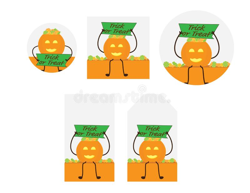 Halloween tags and cards Green and Orange set vector illustration