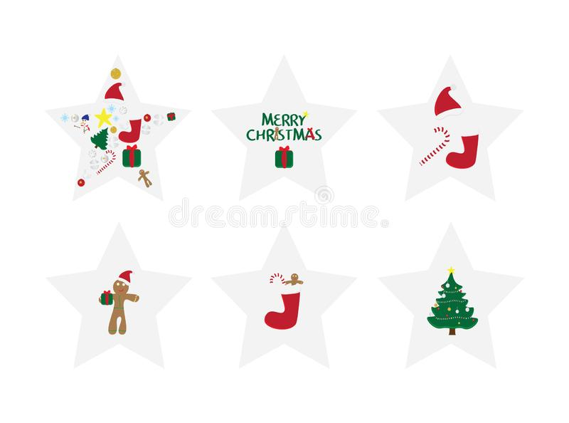 Set of 6 star shape Christmas cards. Merry Christmas card with vector illustrations. Christmas ornaments. gift tags vector illustration