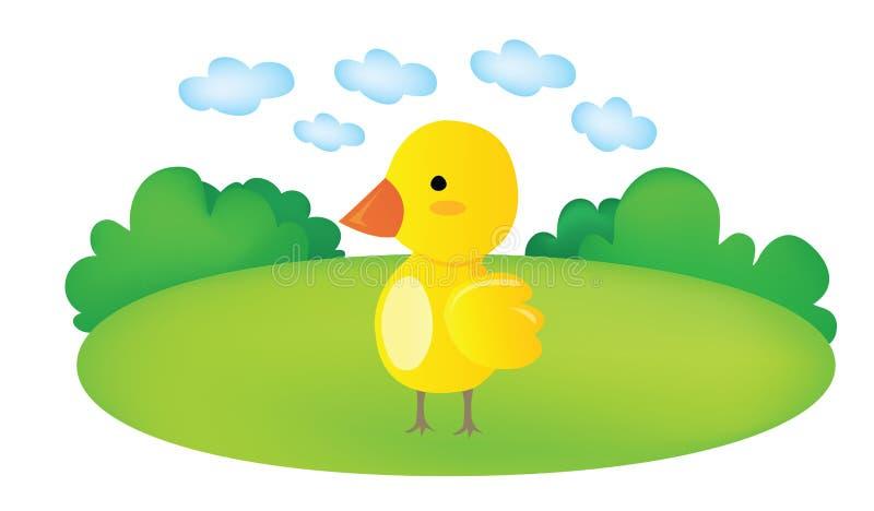 Funny cartoon chicks in the garden. Design vector illustration
