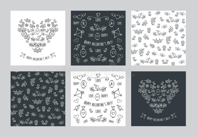 Set of hand drawn vintage floral cards and seamless patterns stock illustration