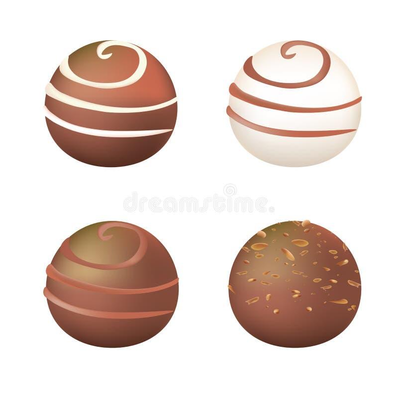 Chocolate balls four kind. Vector illustration stock illustration