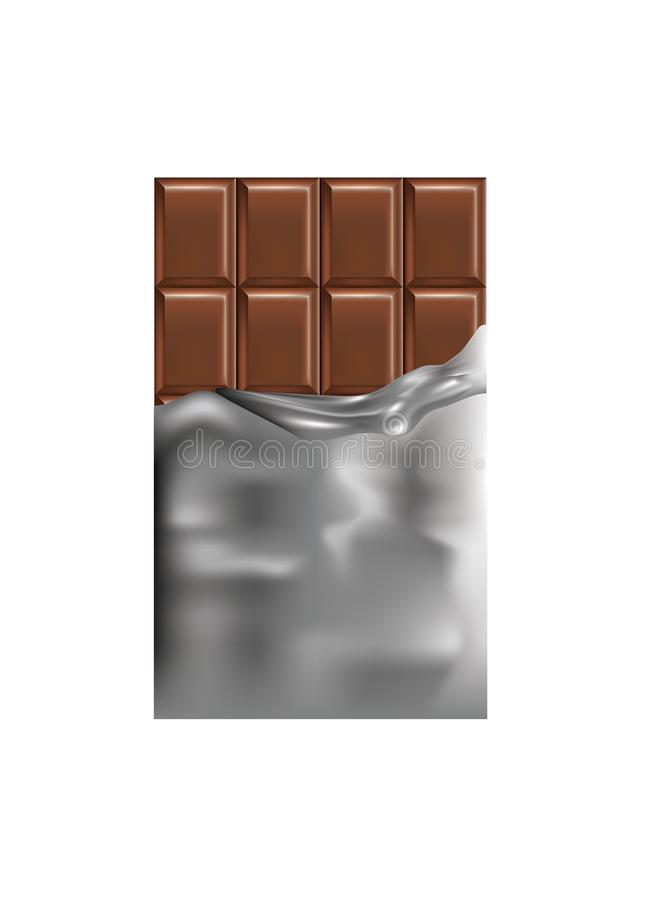 Chocolate bar with foil vector illustration