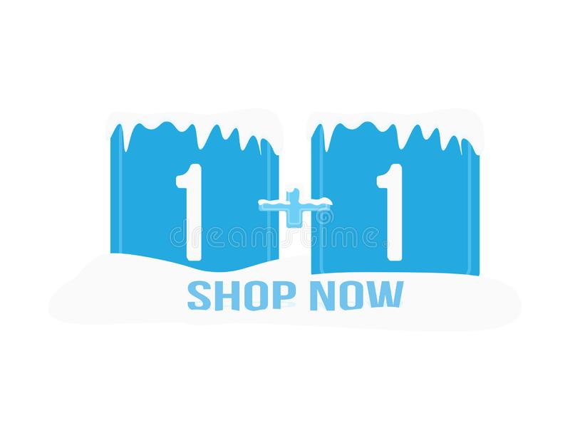 Winter sale shop now icon. one plus one, ubes and snow royalty free illustration