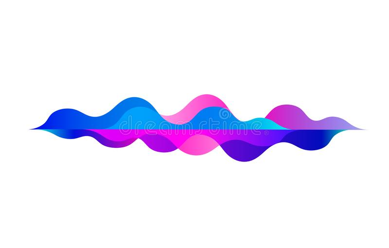 Speaking sound wave.Colorful motion gradient.Rhythm.Abstract vector background.Music audio technology equalizer on white backgroun stock illustration