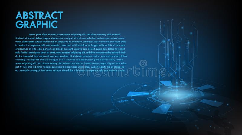 Abstract technology background Hi-tech communication concept, technology, digital business, innovation, science fiction scene stock illustration