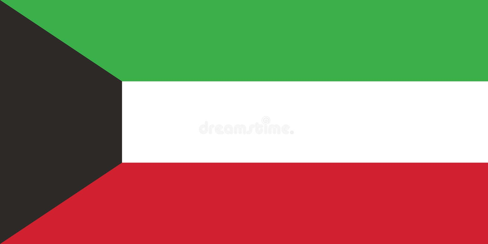 Vector Image of Kuwait Flag, The official and exact Kuwaiti flag dimensions and colors vector illustration
