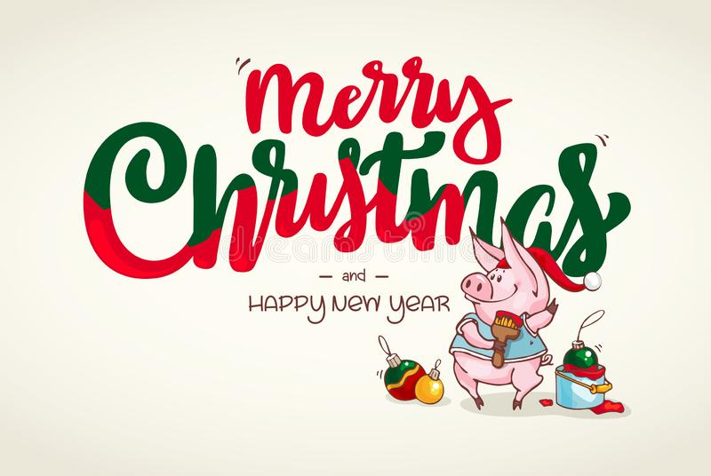 Happy New Year and Merry Christmas greeting card. Christmas decorations. Vector Santa pig. Funny Christmas piglet. royalty free illustration