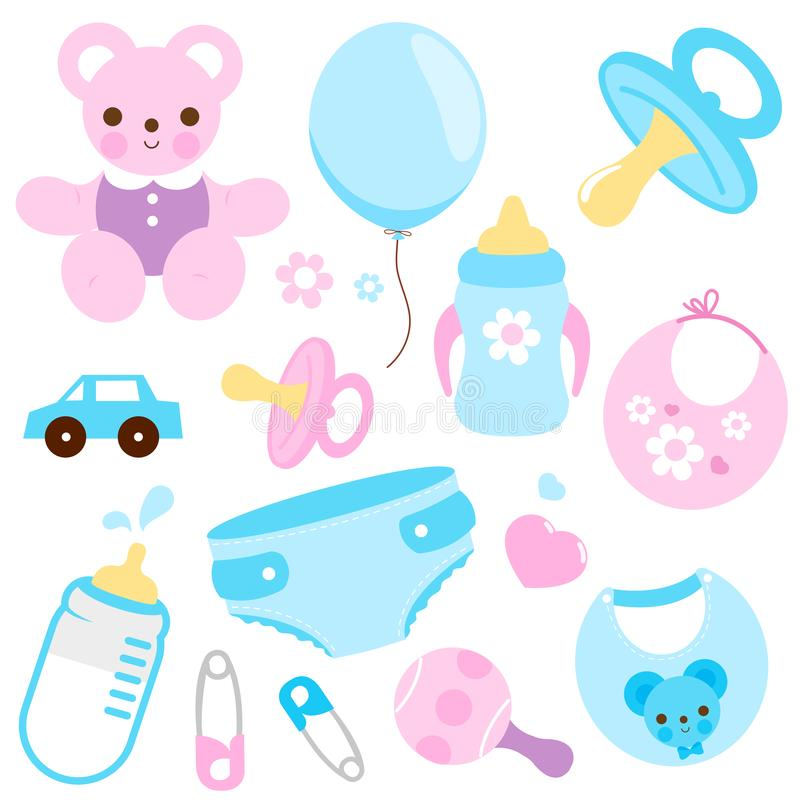 Baby accessories in blue and pink colors. Vector collection vector illustration