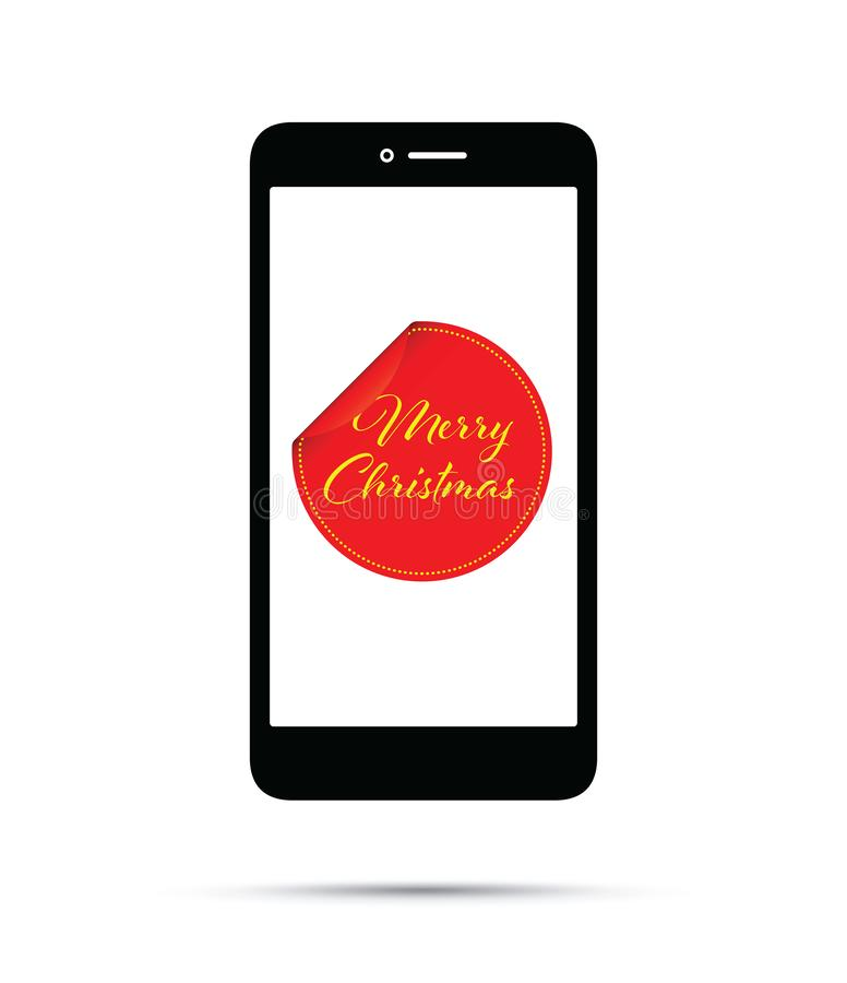 Peeling merry Christmas sticker on a mobile phone royalty free illustration