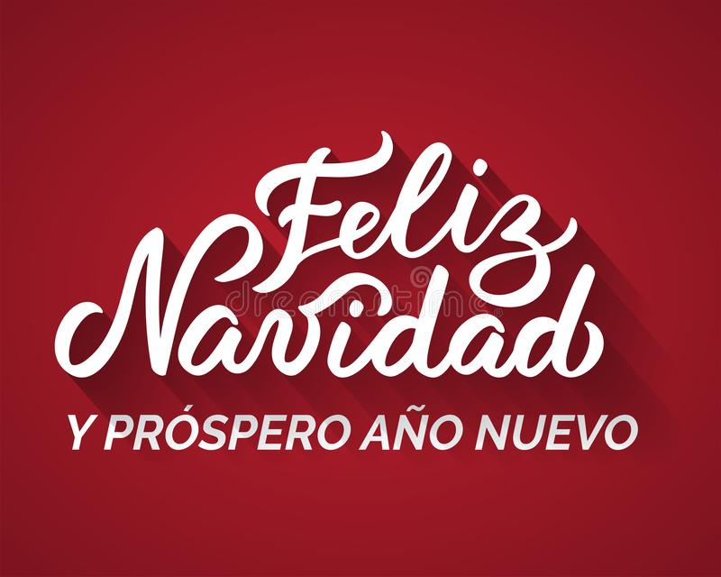 Merry Christmas and a Happy New Year from Spanish. stock illustration