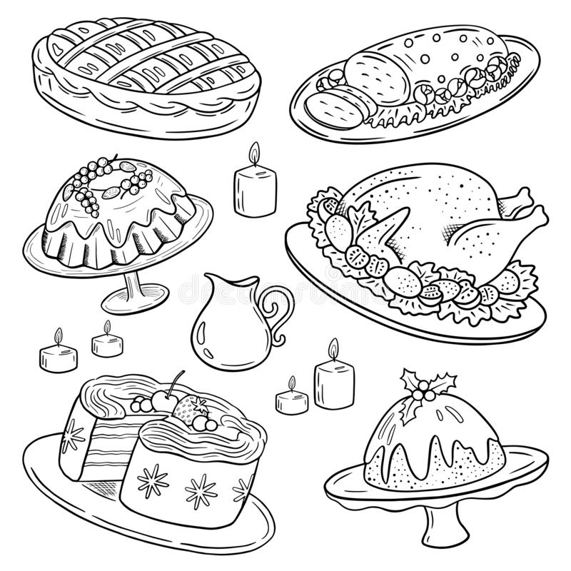 Christmas festive food collection, family dinner set, turkey, pudding, sweet pie, cut meat, cake, muffin, doodle drawing. stock illustration