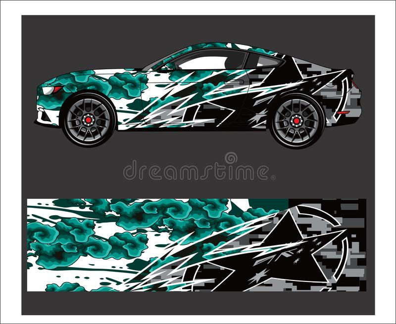 Car And Vehicle abstract racing graphic kit background for wrap and vinyl sticker royalty free illustration