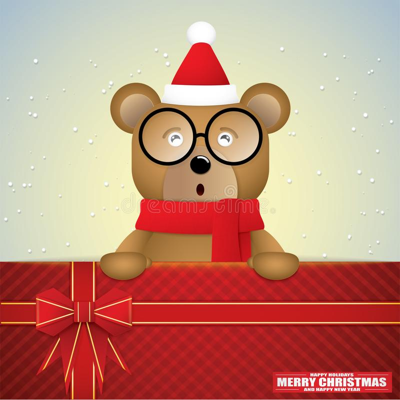 Cute cartoon of brown bear and gift card for winter season. stock images