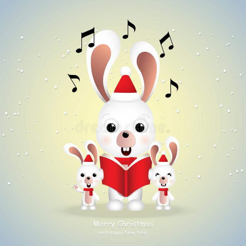 Cute rabbits singing Merry Christmas stock images