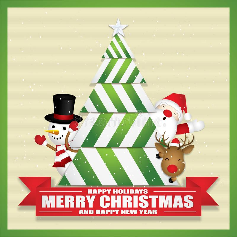 Merry Christmas with cute Santa Claus Reindeer and Snowman. stock photography