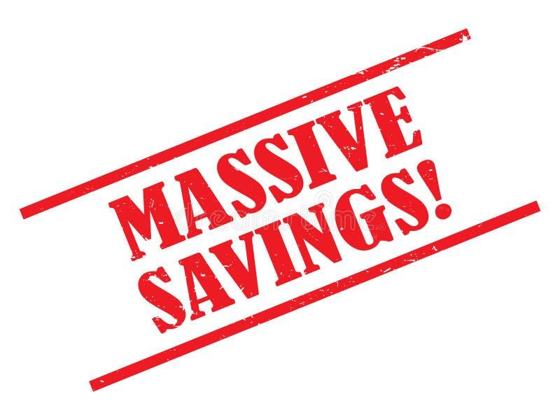 Massive savings illustration. Red grunge text graphics massive savings illustrated on white stock illustration