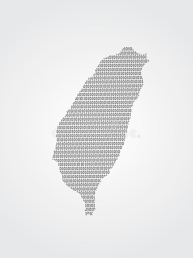 Taiwan vector map illustration using binary codes on white background to mean advancement of digital technology. Taiwan vector map illustration using binary royalty free illustration