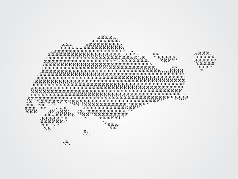 Singapore vector map illustration using binary codes on white background to mean advancement of digital technology stock illustration