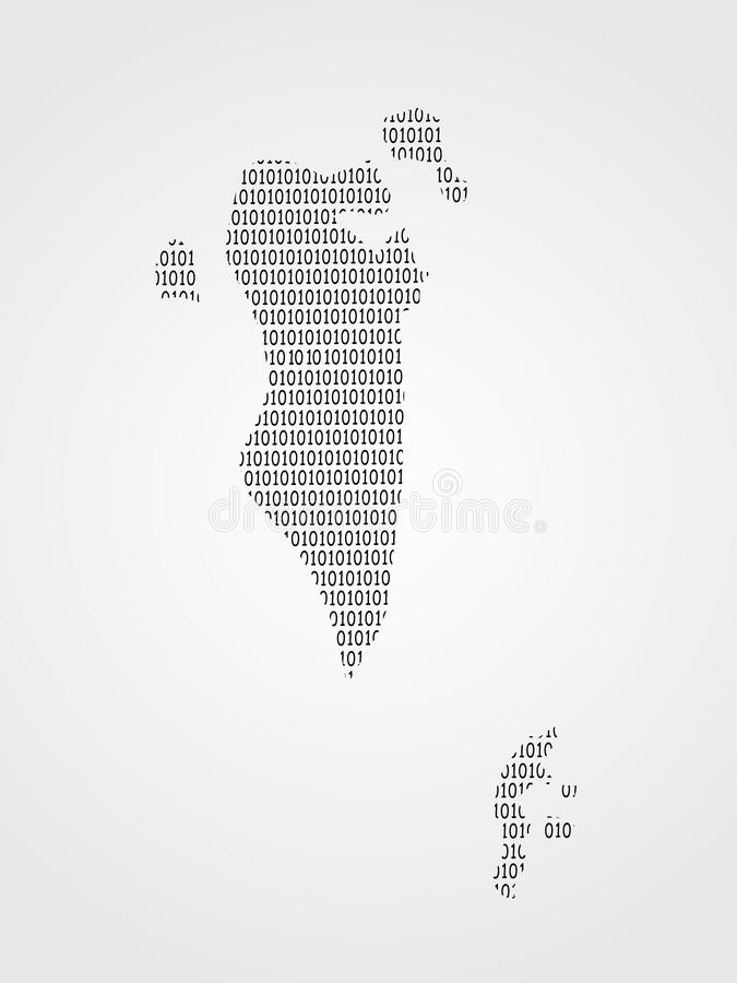 Bahrain vector map illustration using binary digits or numbers on light background to mean digital country and advancement vector illustration