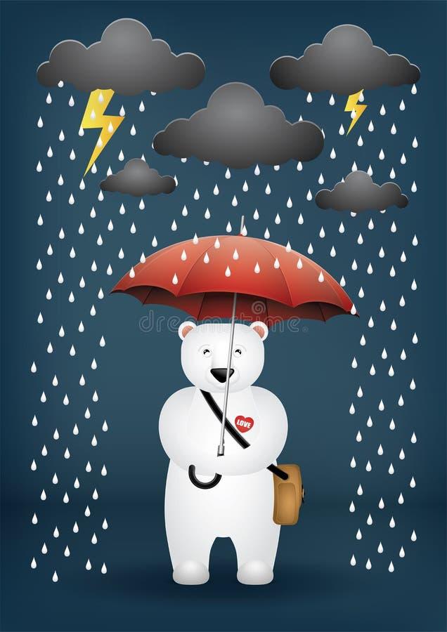 Cute cartoon bear an umbrella on a rainy day. royalty free stock photos