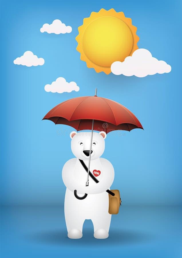 Cute cartoon polar bear with a red umbrella. stock photography