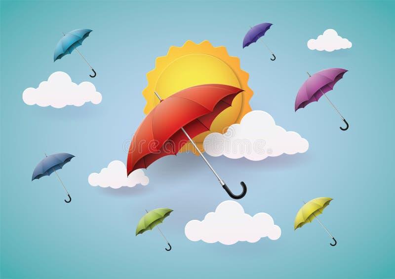 Many beautiful, colorful umbrella. stock images