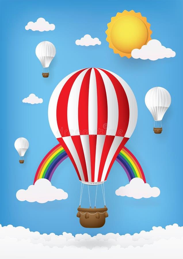 Cute cartoon, Greeting Cards Hot air balloon. royalty free stock image