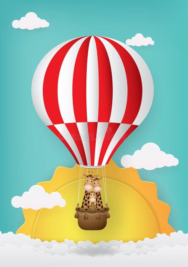 Cute cartoon,Hot air balloon and giraffe. stock photo