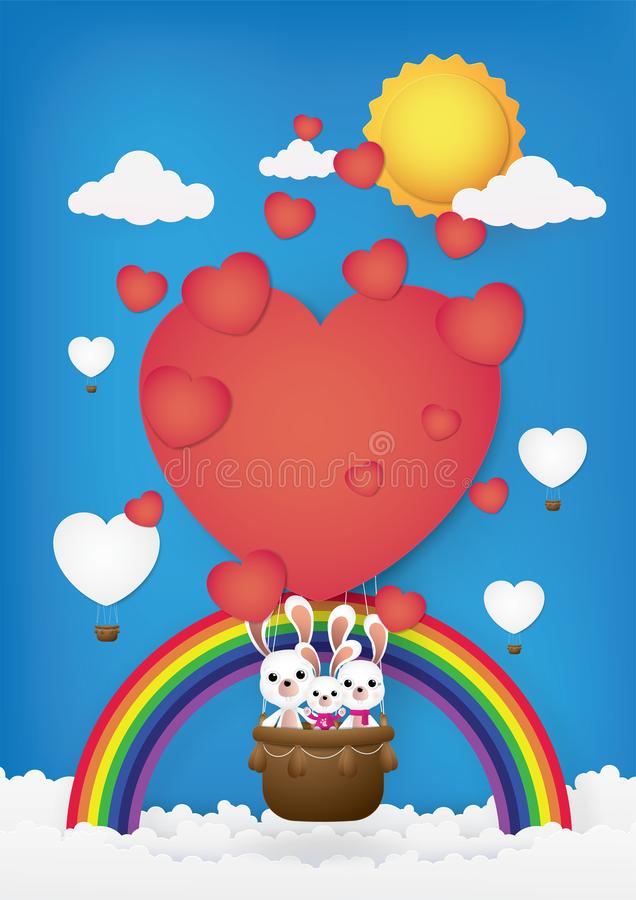 Cute cartoon,Rabbits on the Hot air balloon. stock image