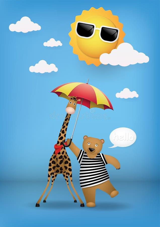 Cute cartoon, bear and giraffe. stock images