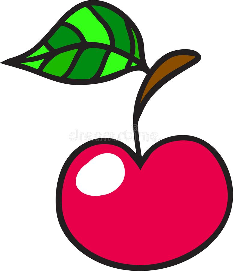 Red cherry. Illustration of red cherry with green leaf vector illustration