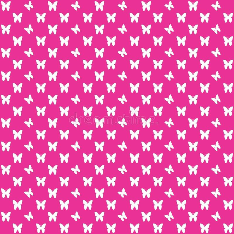 Pink seamless butterfly pattern, butterflies vector background stock image
