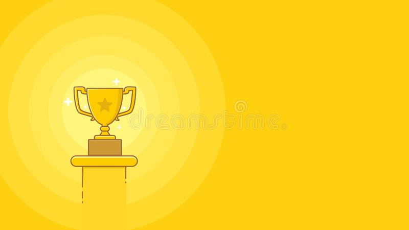 Simple gold medal cup in gradient flat style with empty space for text web banner or presentation flat style vector illustration vector illustration