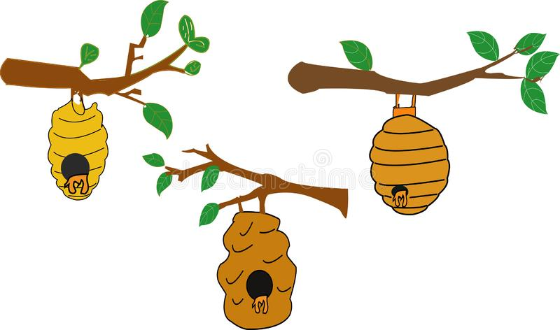 Nest or vespiary of wild bees isolated on white background. Vector cartoon close-up illustration. - Images vectorielles.  royalty free illustration