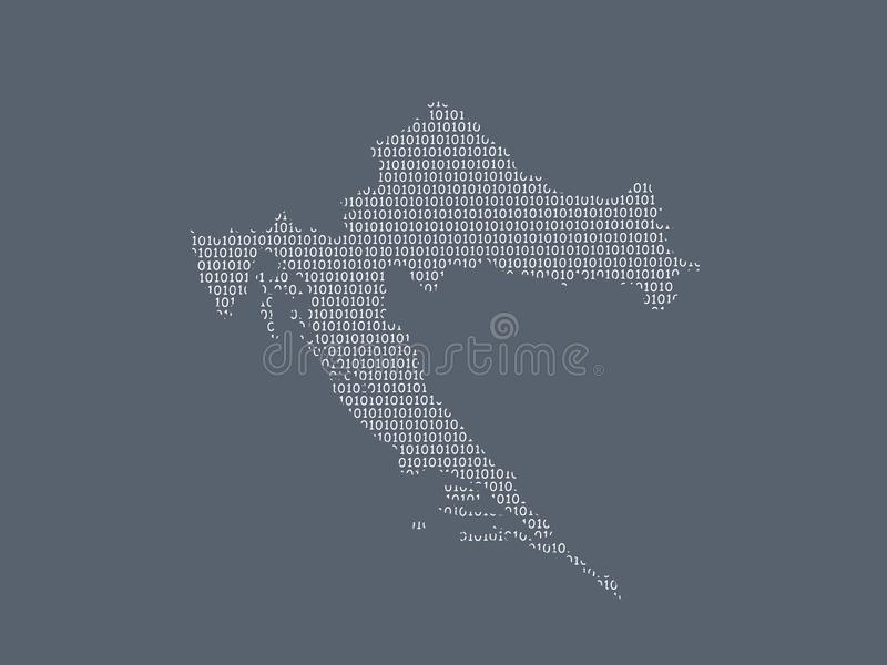 Croatia vector map using white binary digits on dark background to mean digital country and the advancement of technology. Illustration royalty free illustration