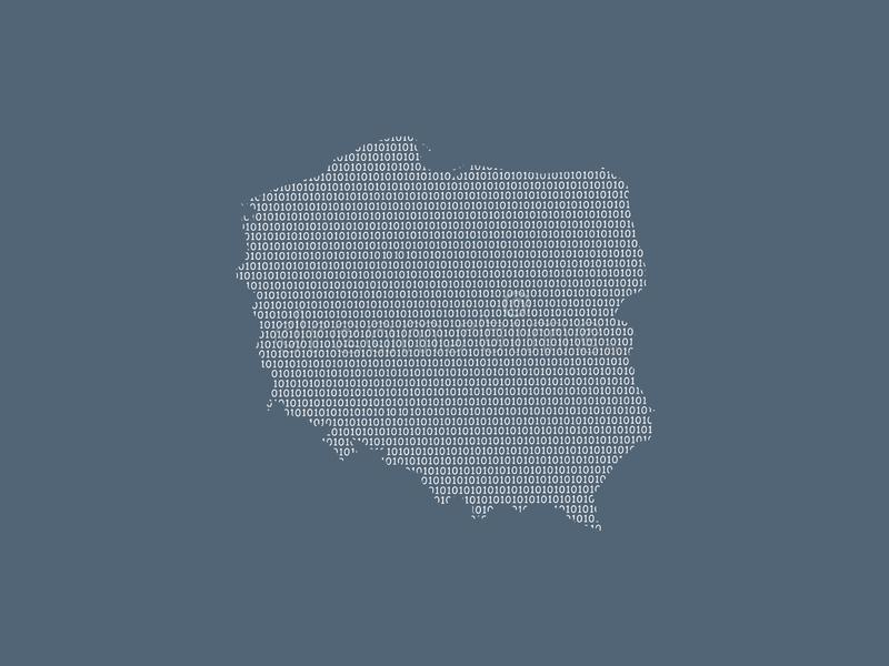 Poland vector map using white binary digits on dark background to mean digital country and the advancement of technology. Illustration vector illustration