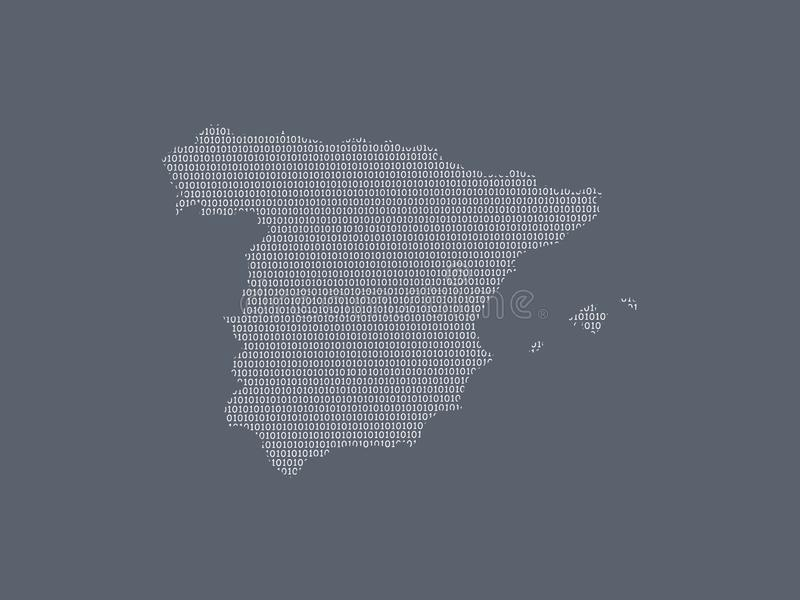 Spain vector map using white binary digits on dark background to mean digital country and the advancement of technology. Illustration royalty free illustration