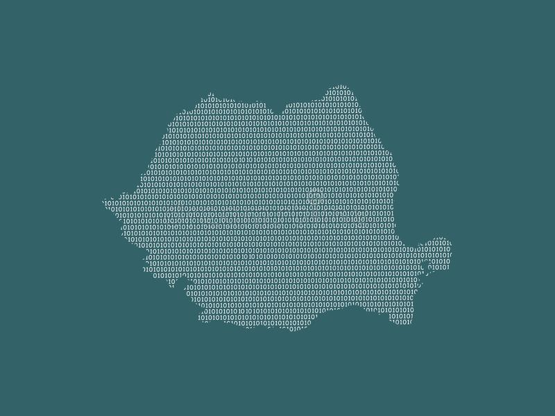 Romania vector map using white binary digits on dark background to mean digital country and the advancement of technology. Illustration stock illustration