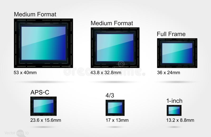 Digital camera sensor format. On scale 1:1 vector illustration