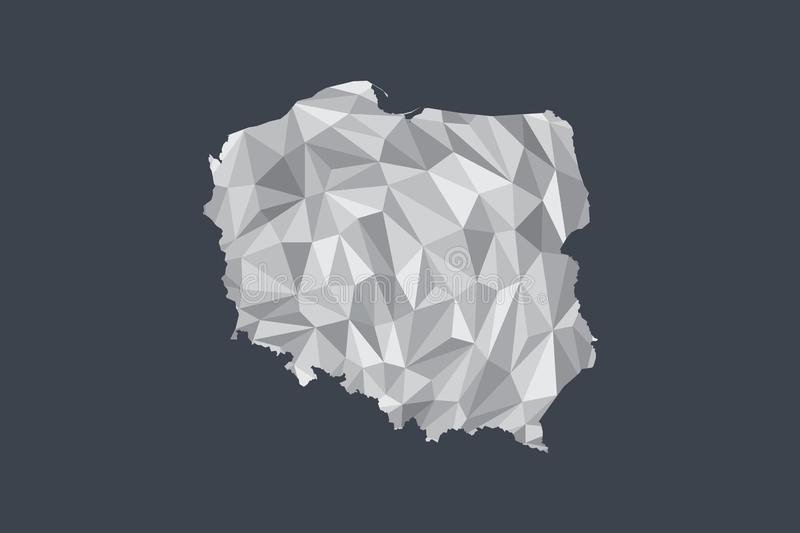 Low poly Poland map vector of white color geometric shapes or triangles on black background stock illustration