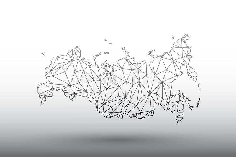 Russia map vector of black color geometric connected lines using triangles on light background illustration meaning strong network. Russia map vector of black vector illustration