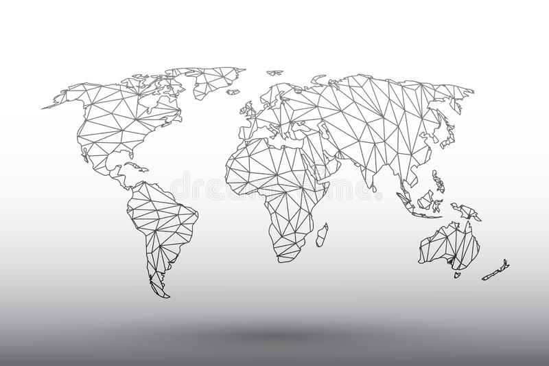 World map vector of black color geometric connected lines using triangles on light background illustration meaning strong network. World map vector of black royalty free illustration
